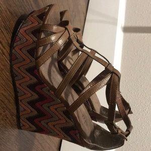 Wedge colorful heels